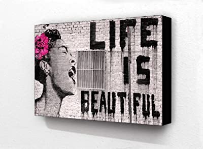 Banksy Life Is Beautiful Billie Holiday 6 x 4 Inches Postcard Size Block Mounted Print - inexpensive UK canvas shop.
