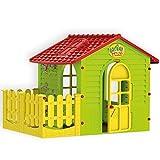 Mochtoys 5907442108392 Spielhaus für drinnen und draußen mit Zaun, Gartenhaus Kind, Spielgerät
