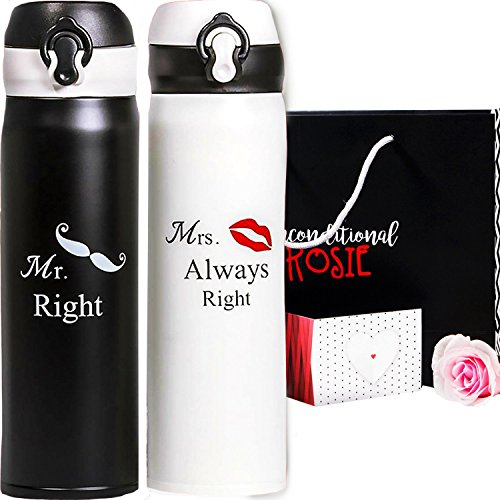 Wedding and Anniversary Gift by Unconditional Rosie - Set of Two Matching Stainless Steel Flasks. These Thermos come in Gift Box! Funny, Unique, and Personalized Couples Gifts for Him and Her!