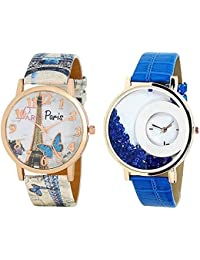 Briota Women Analog Wrist Watch White & Blue Leather Band Fashion Watches For Girls Combo Of 2
