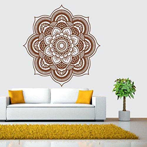 PAOLIAN Etiquetas Engomadas Del Arte De La Etiqueta De La Pared Del Dormitorio Indio De La Flor De La Mandala (B:Marrón)
