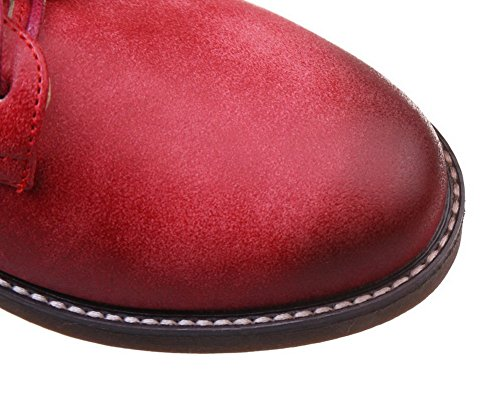 VogueZone009 Femme PU Cuir Lacet à Talon Bas Couleur Unie Chaussures Légeres Rouge Vineux