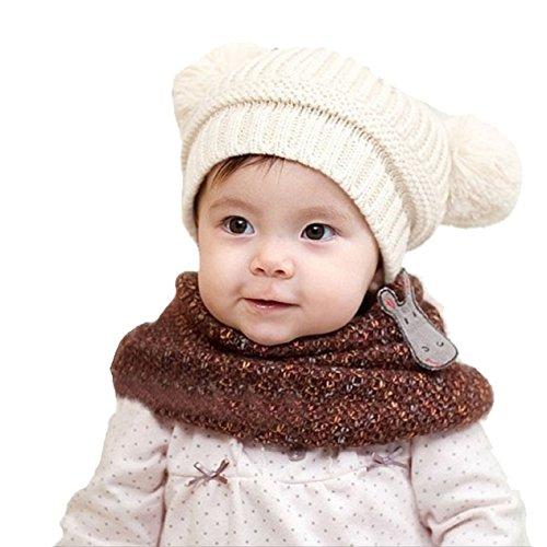 Malloom Nette Baby Kinder Mädchen Junge Doppel Kugeln warmen Winter Strickmütze Hut Beanie (weiß) (Doppel-kugel - Stil)