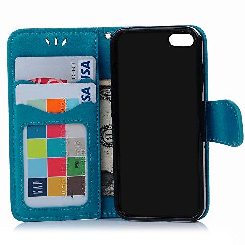 Coque iPhone SE / iPhone 5S / iPhone 5 MAXFE.CO PU Housse Etui Silicone Cuir Antichoc Résistant à Clapet Portefeuille de Carte Slots Magnétique Emplacements avec Ultra Mince Fine Gel TPU Case Cover Fl Bleu