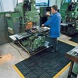 Notrax Bodenplatten-Stecksystem, Naturgummi, gelocht - LxBxH 910 x 910 x 19 mm - schwarz - Arbeitsplatzmatte Arbeitsplatzmatten Bodenbelag Bodenmatte Gummimatte Sicherheitsmatte