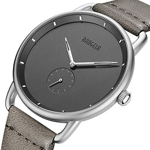 BAOGELA Armbanduhr Damen Herren Uhren Grau Leder-Ultra-flach Slim-Uhr Armband Wasserdicht Analog Quarz Damenuhr Herrenuhr Ultra-flach