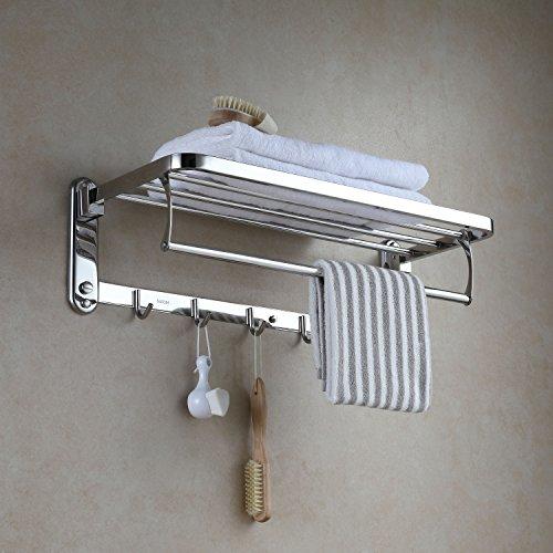 Eridanus porta asciugamani bagno, portasciugamani da parete con mensole doppia in accaio inox sus304, mensola portasciugamani con ganci, pieghevole, lucido, scaffale barre, stile hotel - 60x19x24 cm