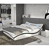 polster bett 140x200 cm wei schwarz aus kunstleder mit blauer led beleuchtung accentox das. Black Bedroom Furniture Sets. Home Design Ideas