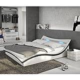 Polster-Bett 180x200 cm weiß-schwarz aus Kunstleder mit LED-Beleuchtung