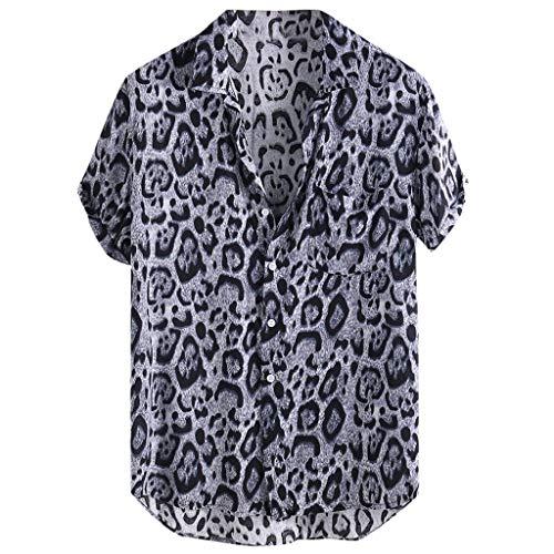 XuanhaFU Camiseta Hombre de Verano,Camisa De Manga Corta con Bolsillo De Leopardo (Negro,XL)