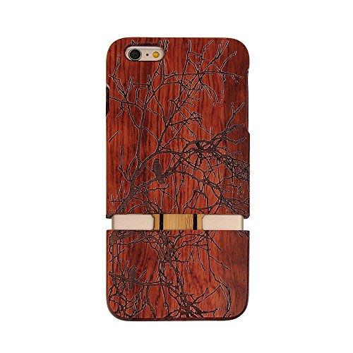 Hülle für iPhone SE 5 5S Forepin® Rosenholz Case Schutzhülle Echtem Holz Schutzhülle Hart Cover Bumper Rahmen Handyschale, Löwe Elster