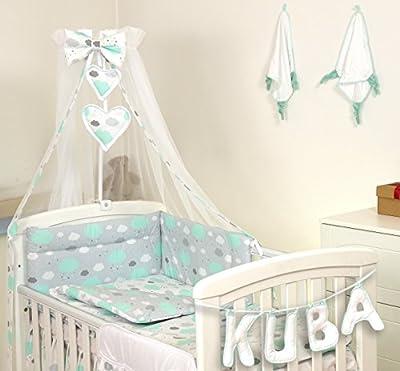 Ropa de cama Pro Cosmo, para cunas, 5 piezas, edredón, cojín, protector, 100 % algodón