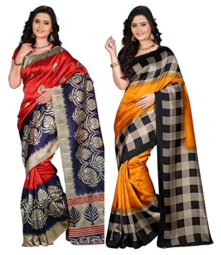 Shree Rajlaxmi Sarees Women's Printed Mysore Silk Party Wear Saree With Blouse Piece (Rl-Mysore Mustard_Red)