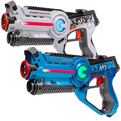 Light Battle Laser Game Pistolet Jouet: 2 Active Pistolets infrarouges Bleu et Blanc - LBAP10234