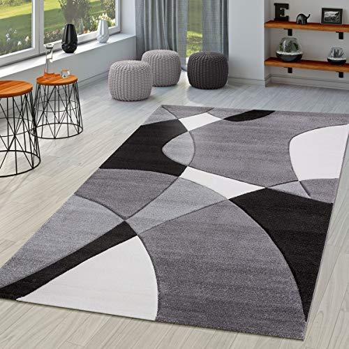Tappeto moderno per soggiorno astratto taglio sagomato in nero grigio bianco, größe:80x150 cm