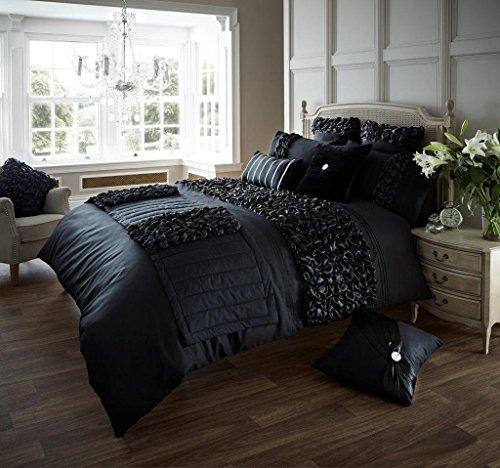 Luxus Bettbezug mit Kissenbezug neue Bettwäsche (Verina Schwarz, Einzel) -