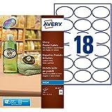 Avery 180 Etiquettes Autocollantes Ovales (18 par Feuille) - 63,5x42,3mm - Impression Jet d'Encre - Brillant - Blanc (J8102) - Lot de 10