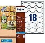 Avery 180 Etiquettes Autocollantes Amovibles Ovales (12 par Feuille)- 63,5x42,3mm - Impression Jet d'Encre - Brillant - Blanc (J8102)