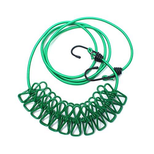 lufa-elastic-camp-bushcraft-tente-blanchisserie-rope-lessive-line-avec-12-pegs-clips-vert