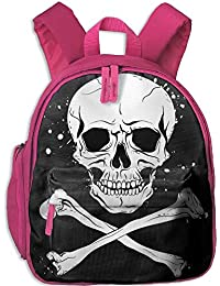 Black Skull Double Zipper Closure Waterproof Children Schoolbag Backpacks with Front Pockets For Youth Boys Girls