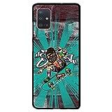 BJJ SHOP Custodia Nera per [ Samsung Galaxy A51 ], Cover in Silicone Flessibile TPU, Design: Pattinatore Freestyle con Barba
