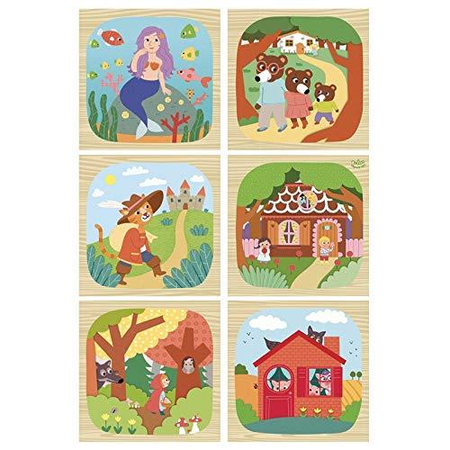 Vilac-Cubos de Madera Les Contes 2407, Multicolor