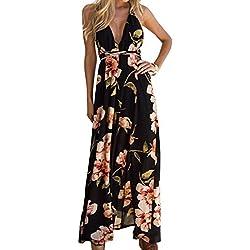 JNCH Vestido Largo Mujer Estampado de Flores Maxi Boho Verano con Cuello en V Casual para Fiesta Vacación Playa 2018