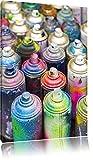 Coloured Graffiti Farbflaschen abstrakte Kunst Format: 120x80 cm auf Leinwand, XXL riesige Bilder fertig gerahmt mit Keilrahmen, Kunstdruck auf Wandbild mit Rahmen, günstiger als Gemälde oder Ölbild, kein Poster oder Plakat