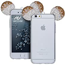 URCOVER® Étui Souris-Oreilles Mouse TPU | Apple iPhone 6 / 6s | Silicone in Or + Argent | Back-cas Housse Vogue Briller Coque Transparent Paillettes Strass Bling Diamant Chanel