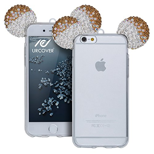 Custodia iPhone 6 Plus / 6s Plus Orecchie da Topolino , Cover Protettiva in Silicone Trasparente Morbida Flessibile con Laccio , Back Case Apple iPhone 6 Plus / 6s Plus con Strass Brillantini Femminil Argento