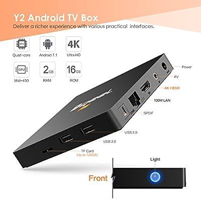 Bqeel Android TV Box ?2GB+16GB? TV Box Android 7.1 Boîtier Multimédia Y2 H.265 HD Vidéo Quad-Core 64bit Wi-FI 2.4G 802.11 b/g/n Gigabit 4K Smart TV Box de Bqeel trade