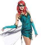maboobie Sexy Robe Costume de Deguisement Personnage Cinema Vert Deco Feuille avec Lunettes Gants M L