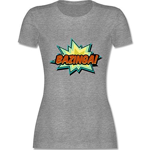 Comic Shirts - Bazinga! - tailliertes Premium T-Shirt mit Rundhalsausschnitt für Damen Grau Meliert