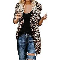 SoonerQuicker Womens Casual Solid Langarm Leopard Print Mode Mantel Bllouse T-Shirt Tank Tops