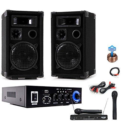 PA Karaoke Party Musikanlage Boxen Verstärker USB SD MP3 Funkmikrofon DJ-Compact 5