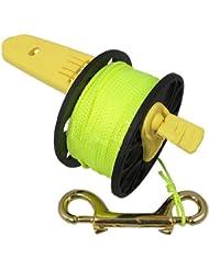 Carrete spool compacto de mano con mango de plástico - Cuerda amarilla - 50,9 m