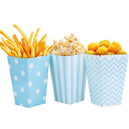 Comius Popcorn Boxen, 36 Stück Popcorn-Boxen Streifenmuster Punktmuster WellenmusterDekoratives Geschirr Candy Boxen Behälter (Blau)