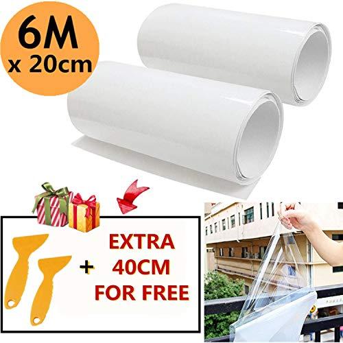Mioke 2pcs Láminas Protectoras para Pintura Adhesiva Película Coche automóvil Transparente Aplicador 2 Rodillo 300cm con Raspador (20 * 300cm)