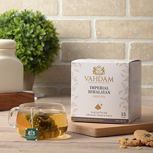 Britischer Himalaja-weißer Tee 15 Teebeutel, lange Blatt-Pyramide-weiße Teebeutel Handverlesene Ernte von den hohen Aufzug-Ständen, reiner weißer Tee, 100% gesund und natürlich, ungemischt