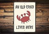Dozili Crabe Sign Vieux Crabe Lives Here Panneau Crabe Décor Cadeau de Crabe de...