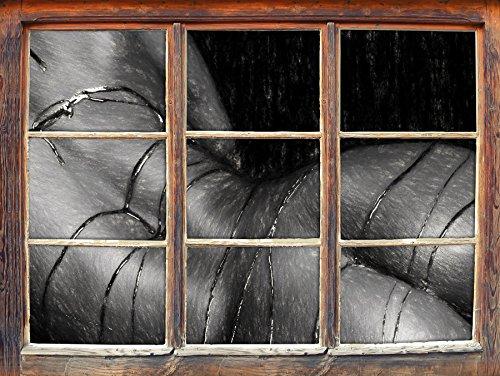 u mit Schokolade begossen Kunst Kohle Effekt Fenster im 3D-Look, Wand- oder Türaufkleber Format: 62x42cm, Wandsticker, Wandtattoo, Wanddekoration ()