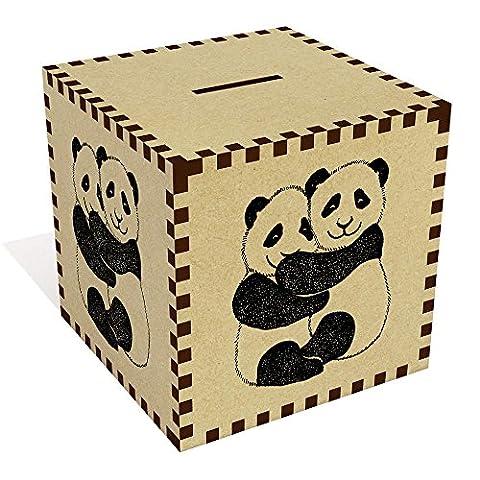 Grand 'Panda Étreinte' tirelire en bois (MB00022073)