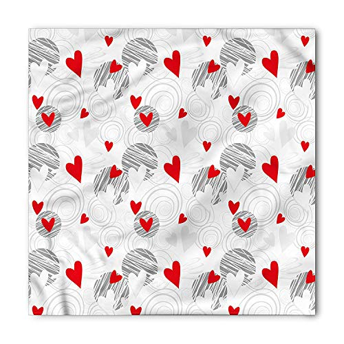 DIMAA Hearts Bandana, Abstract Art Lines Circles, Unisex Head and Neck Tie 100x100cm -
