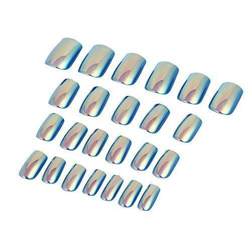 sourcingmap® Femmes Dame DIY Faux Faux Ongle Complet Art Pour Les Ongles Pointe 24 en 1 Bleu