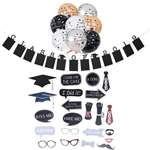 BESTOYARD 2019 Obtention du diplôme Booth Props Ballons Banner Kit 35 Pcs Graduation Party Favors (35 Pcs