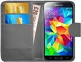 G-Shield Samsung Galaxy S5/S5 Neo Hülle mit Kartenfach Ledertasche Klapphülle PU Leder Schutzhülle Tasche Flip Case Cover Etui Handyhülle mit Displayschutzfolie und Stylus (G900F) - Grau