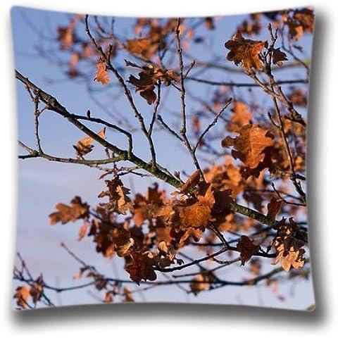 Zipper Design Dried Autumn Leaves Throw Pillowcase,
