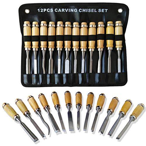 Tuma crafts - set di scalpelli professionali per intaglio, 12 pezzi di attrezzi affilati per la lavorazione del legno con custodia, ideali per principianti