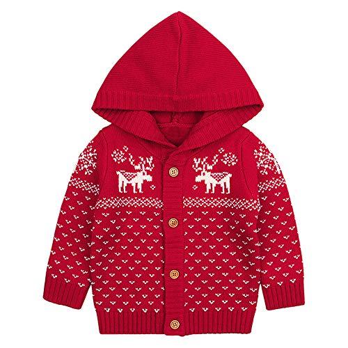 MIRRAY Weihnachten Kleinkind Baby Jungen Mädchen Weihnachtsrotwild mit Kapuze Gestrickte Oberseiten Warmer Mantel Kleidung Dunkelblaues Rot