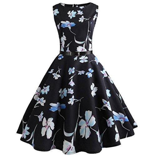 Neun Vintage Kleid, Yesmile 1950er Jahre Kleider Damen Schwarz Kappen Hülse Retro Vintage Sommerkleid Sexy Party Elegante Kleider KleidRundhals Abendkleid Prom Swing Kleid (XL, Schwarz-2)
